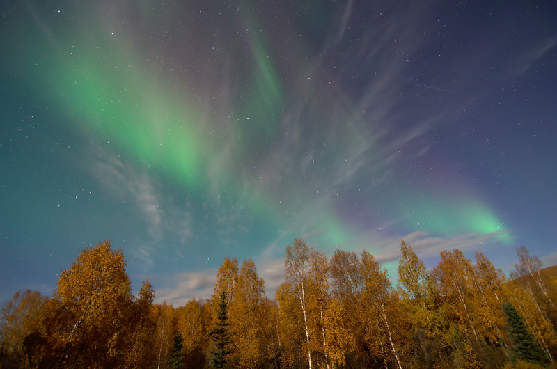 After the brilliant coronal display, the aurora faded and diffused out across more of the sky. Some clouds in the sky added some nice texture, and the autumn colors were also nice.