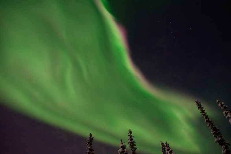 Northern lights burst from above