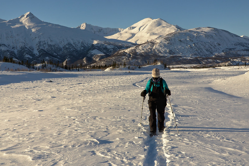 Snowshoeing up Castner Creek toward the Castner Glacier
