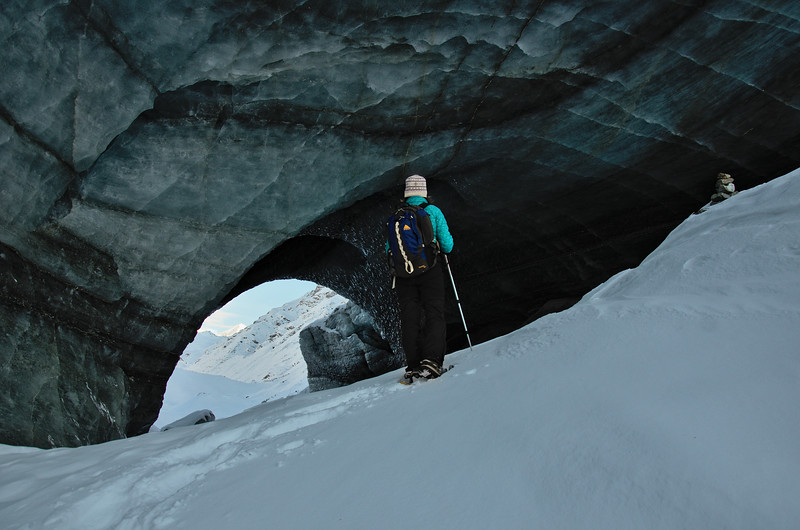 Snowshoeing to the Castner Glacier Ice Cave