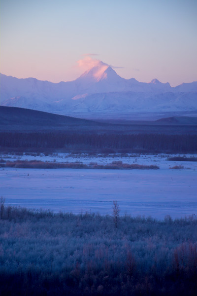 Mt. Hayes viewed from the Richardson Highway over the Tanana River