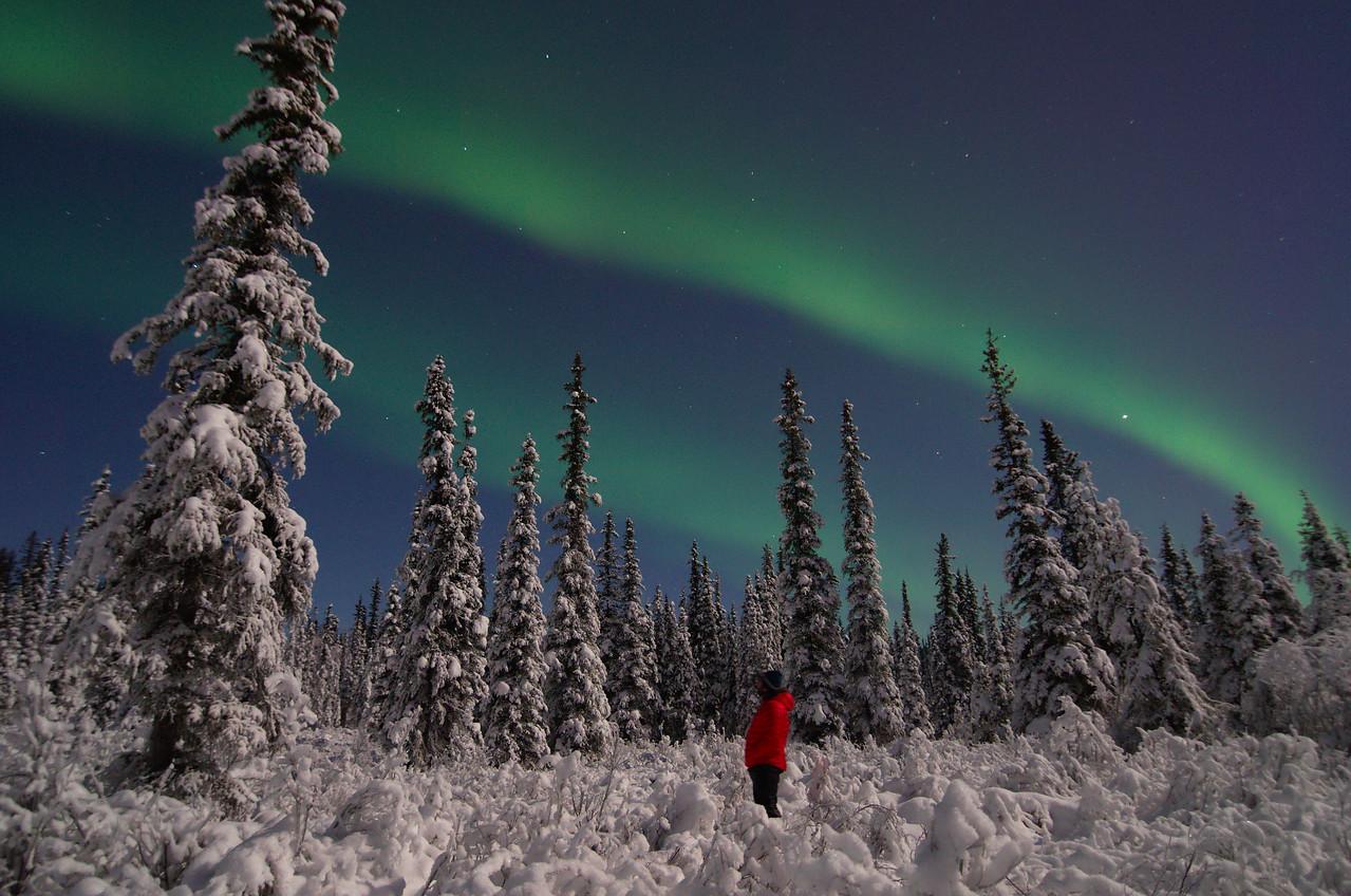Aurora borealis and a full moon