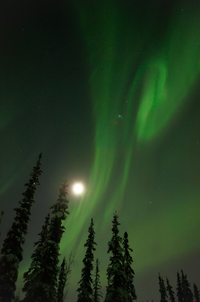 The moon and the aurora