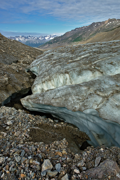 Deep canyon where the moraine met bare ice.