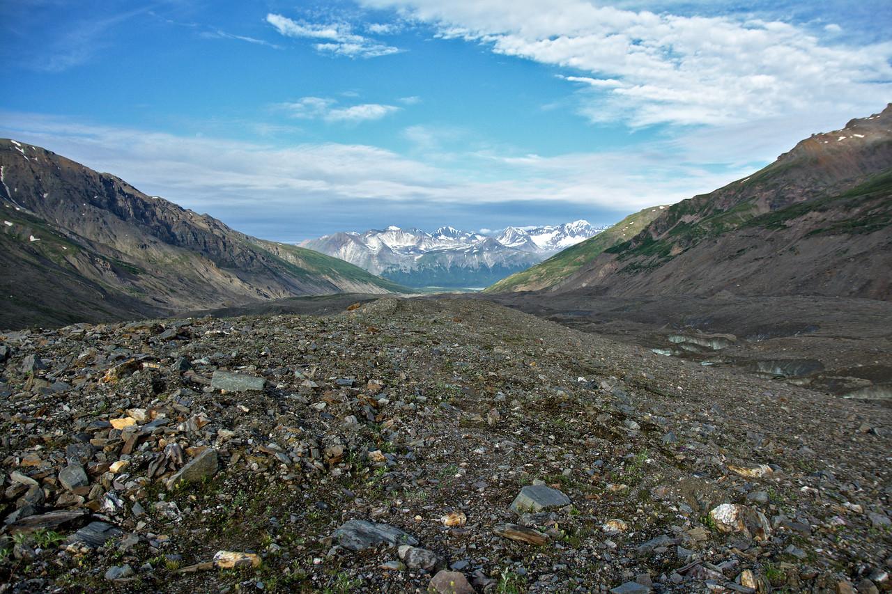 Looking down the large medial moraine on the Castner Glacier in the Alaska Range