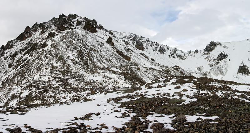 Snow dusting on the rocky Rainbow Mountain