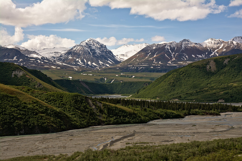 View of Phelan Creek in the Alaska Range from Rainbow Ridge