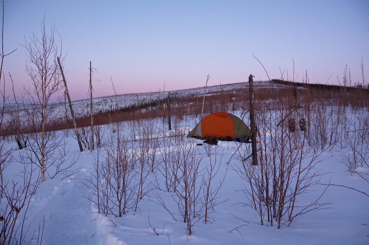 Winter campsite along the Granite Tors Trail