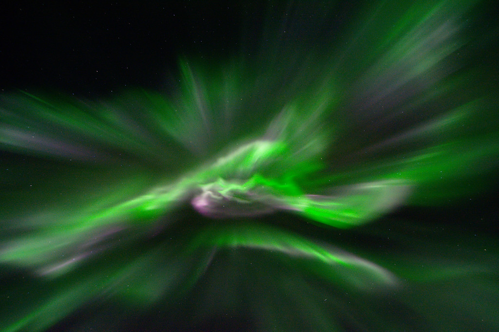 Aurora corona directly overhead. Camera settings for aurora photography. Camera: Nikon D7100 ISO: 2500 f/stop: 2.8 shutter speed: 1.3 second