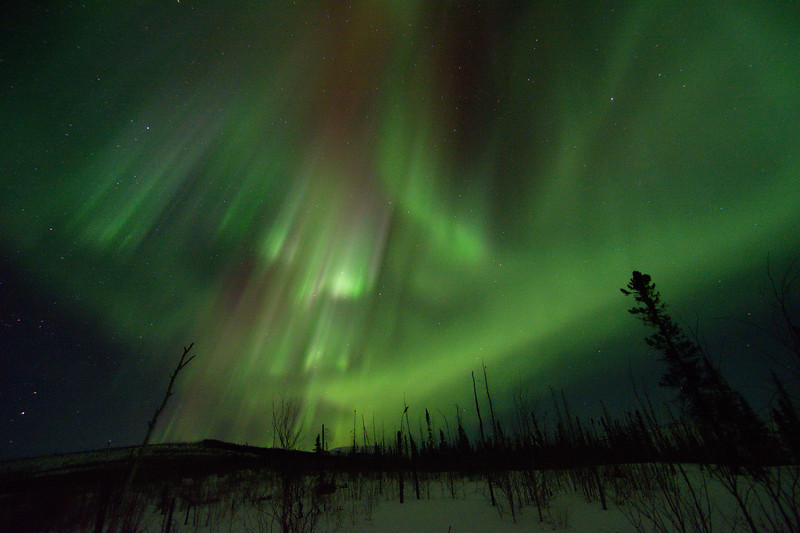 green and red aurora over the hills at Granite Tors in the Chena River State Recreation Area