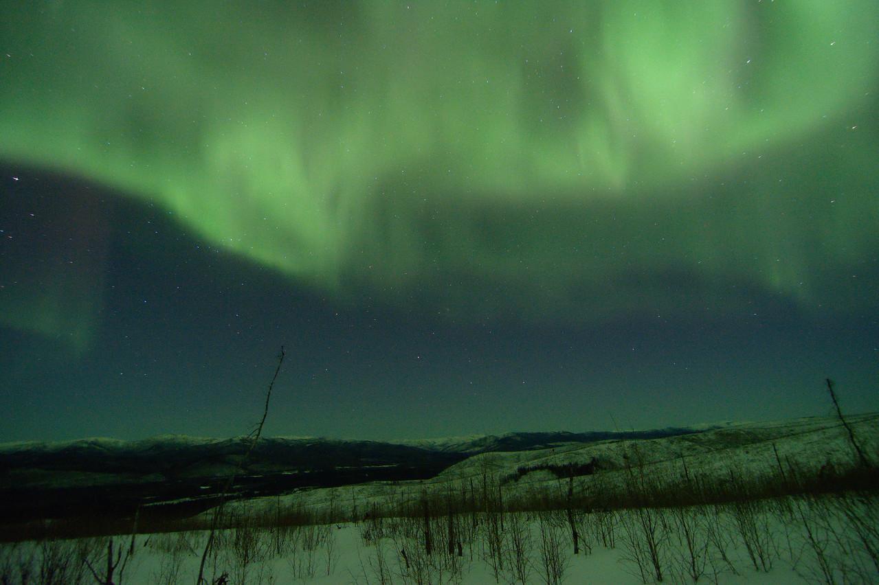 soft green aurora over Chena hills