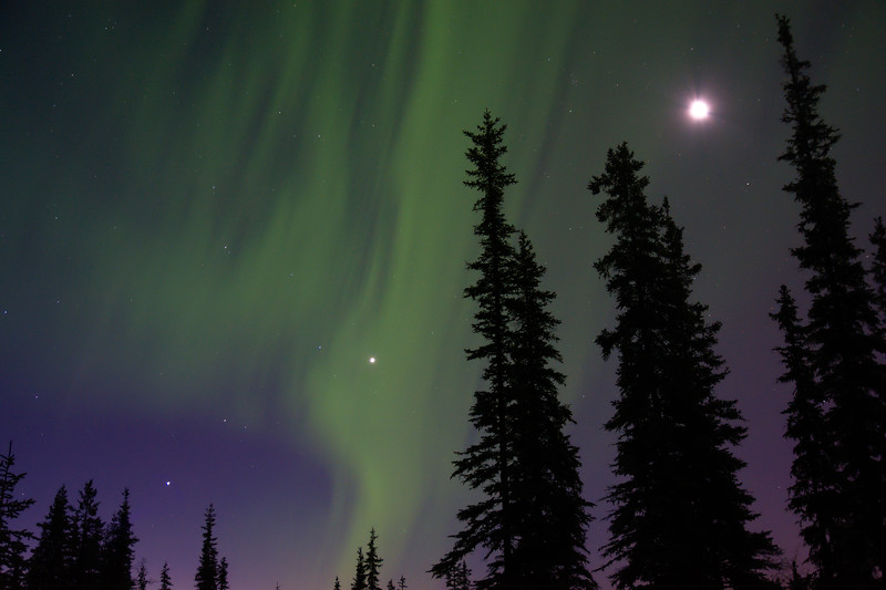 Alignment – Moon, Venus, Mars, Jupiter, and Aurora Borealis