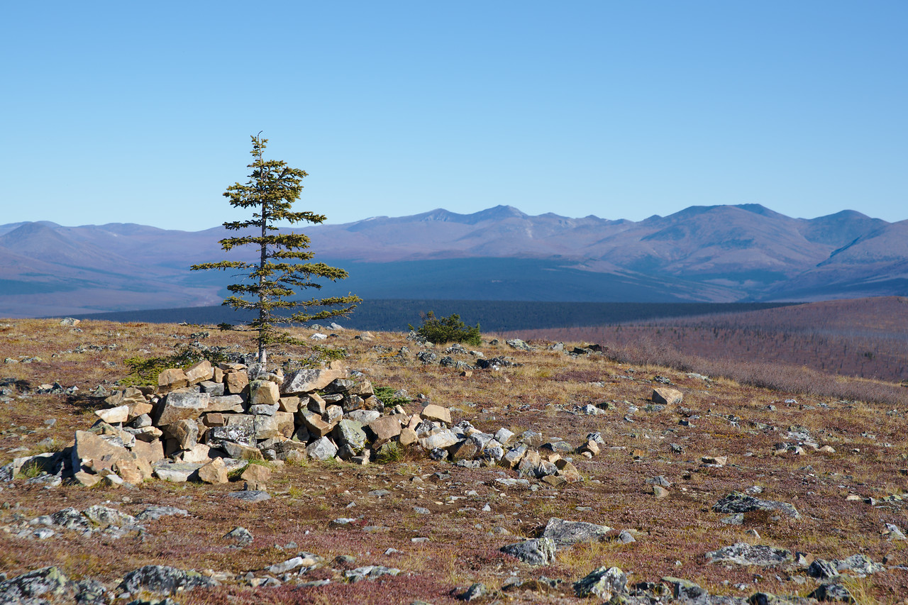 View over Nome Creek into the Mt. Prindle region of the White Mountains from the summit of Table Top Mountain
