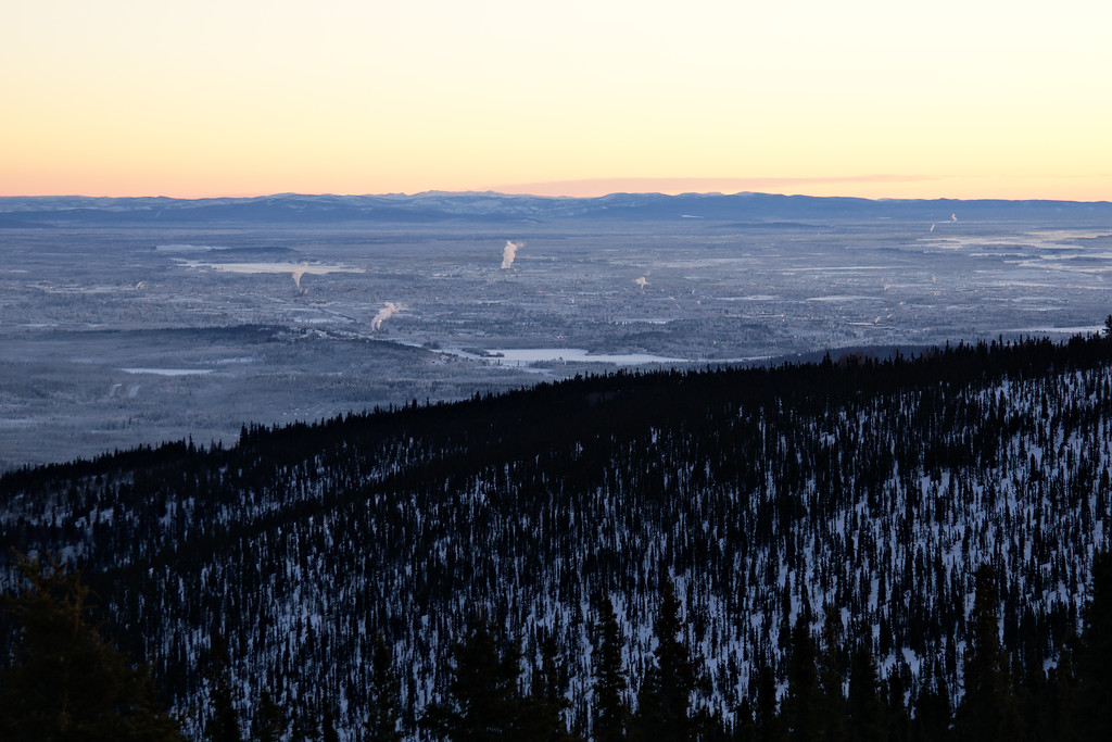 Looking over Fairbanks from Ester Dome on the New Year.