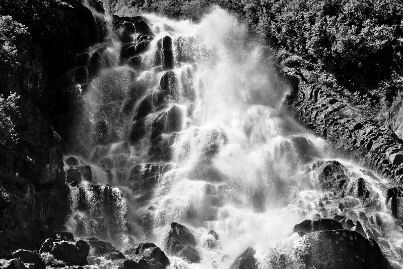 B&W Horsetail Creek Waterfall