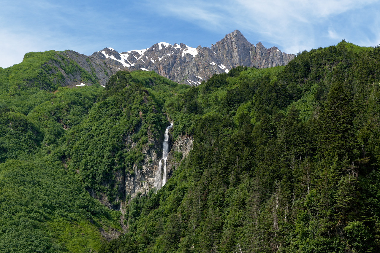 Anderson Falls and Mt. Thomas in the Chugach Mountains near Valdez, Alaska. The July photo in my 2022 wall calendar