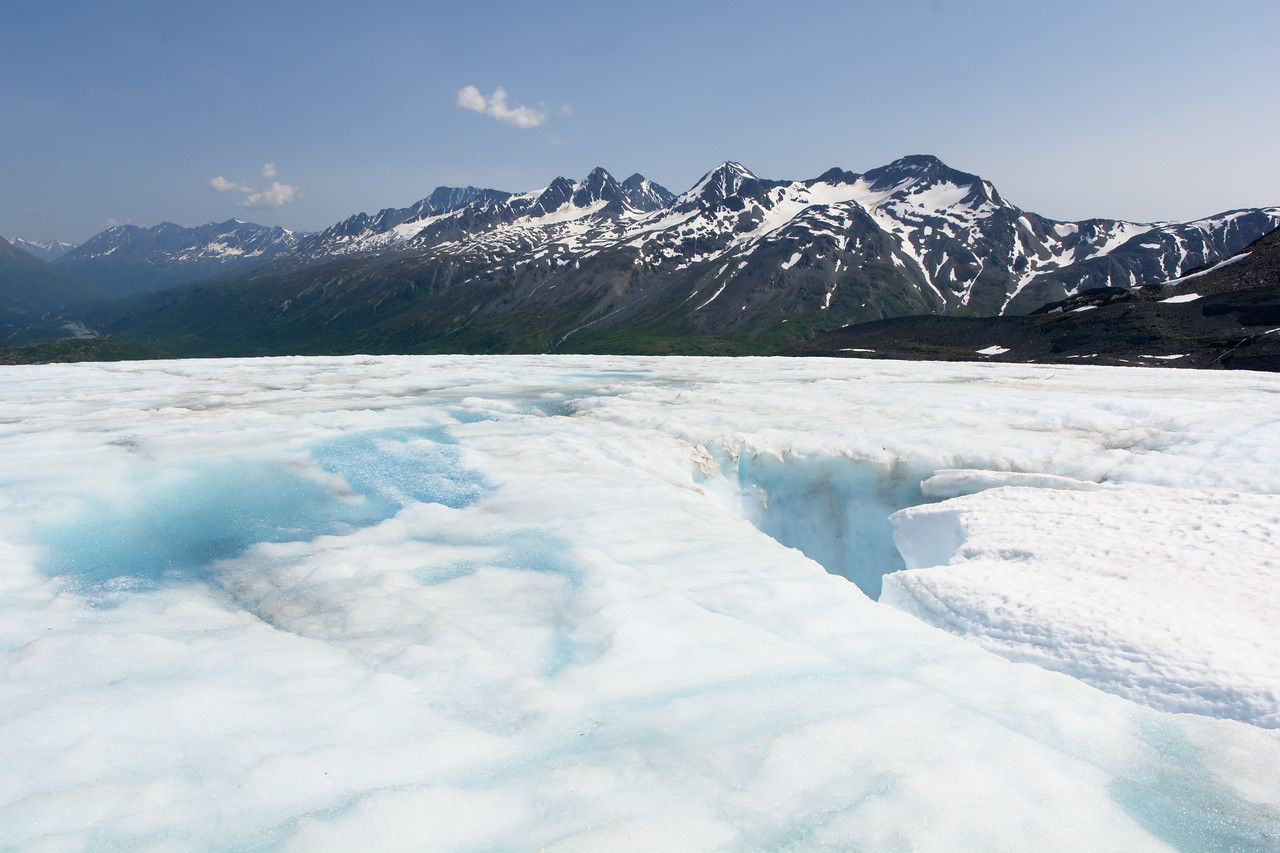 A large moulin on the Worthington Glacier in the Chugach Mountains