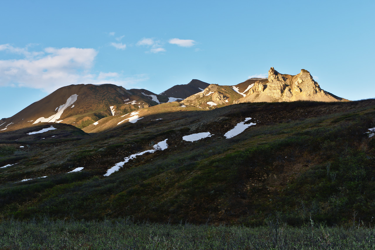 The rocky spires known as the Hoodoos in the Alaska Range near the Gulkana Glacier