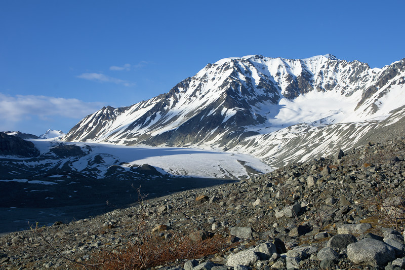 Looking over the Gulkana Glacier in the Alaska Range