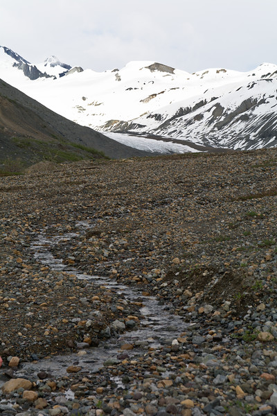 Streams in Talus and College Glacier