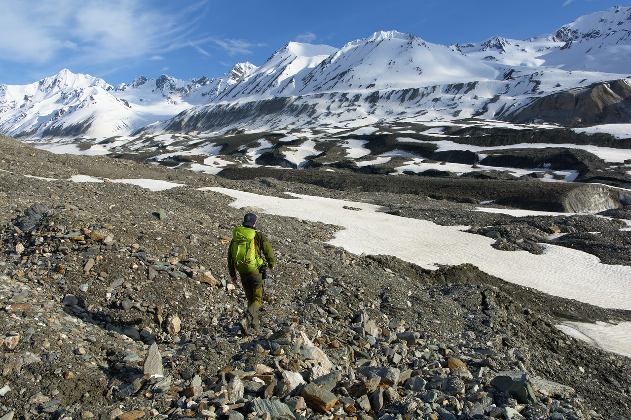 Hiker on the moraine of the Canwell Glacier