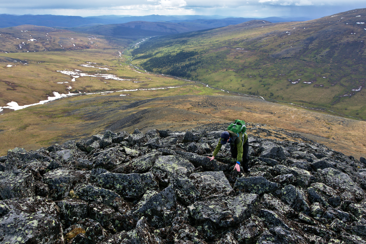 Scrambling up the talus on the middle ridge