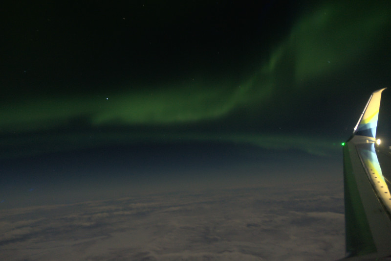 Aurora borealis from an Alaska Airlines flight to Fairbanks.