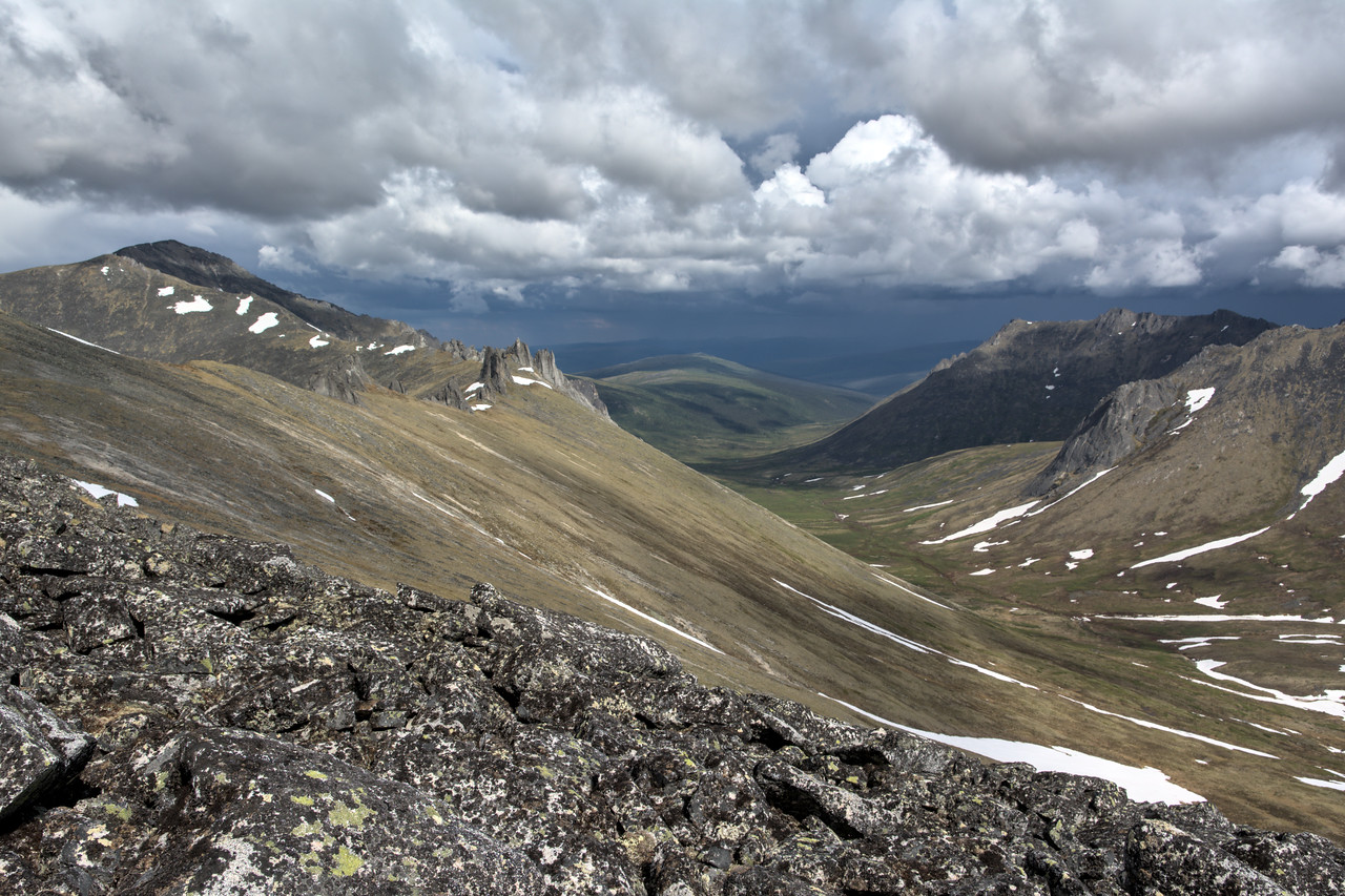 Mt. Prindle, tors, and valley in stormy weather