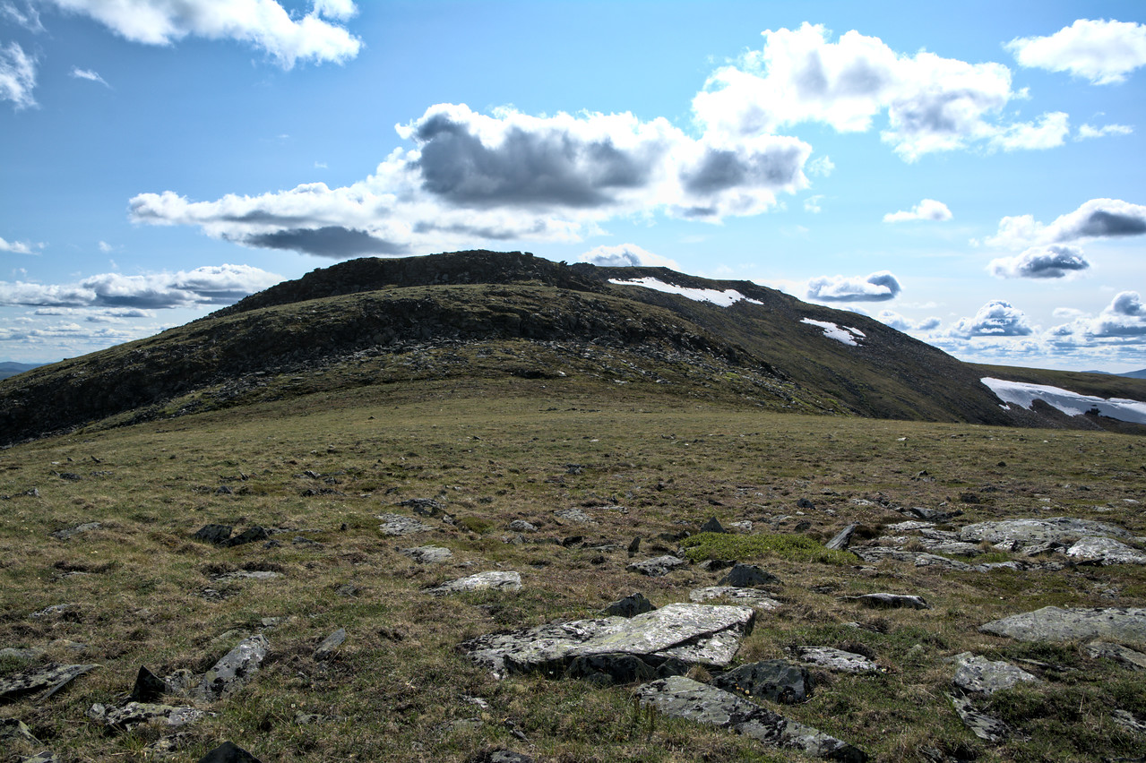 Looking at the two sizeable talus steps to reach the McManus Mountain Summit