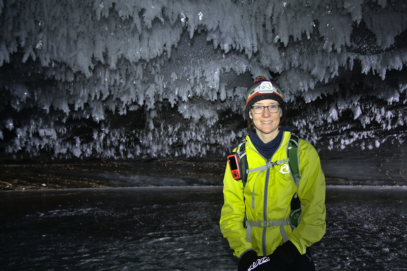 Cat in an ice cave while on a hike during the start of the COVID-19 pandemic