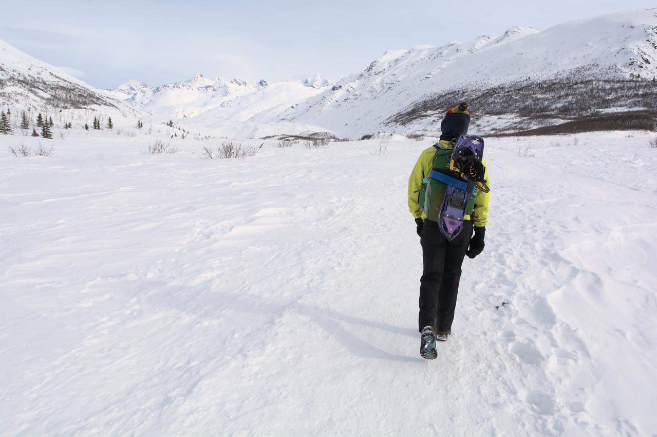 Hiker walking out to the Castner Glacier