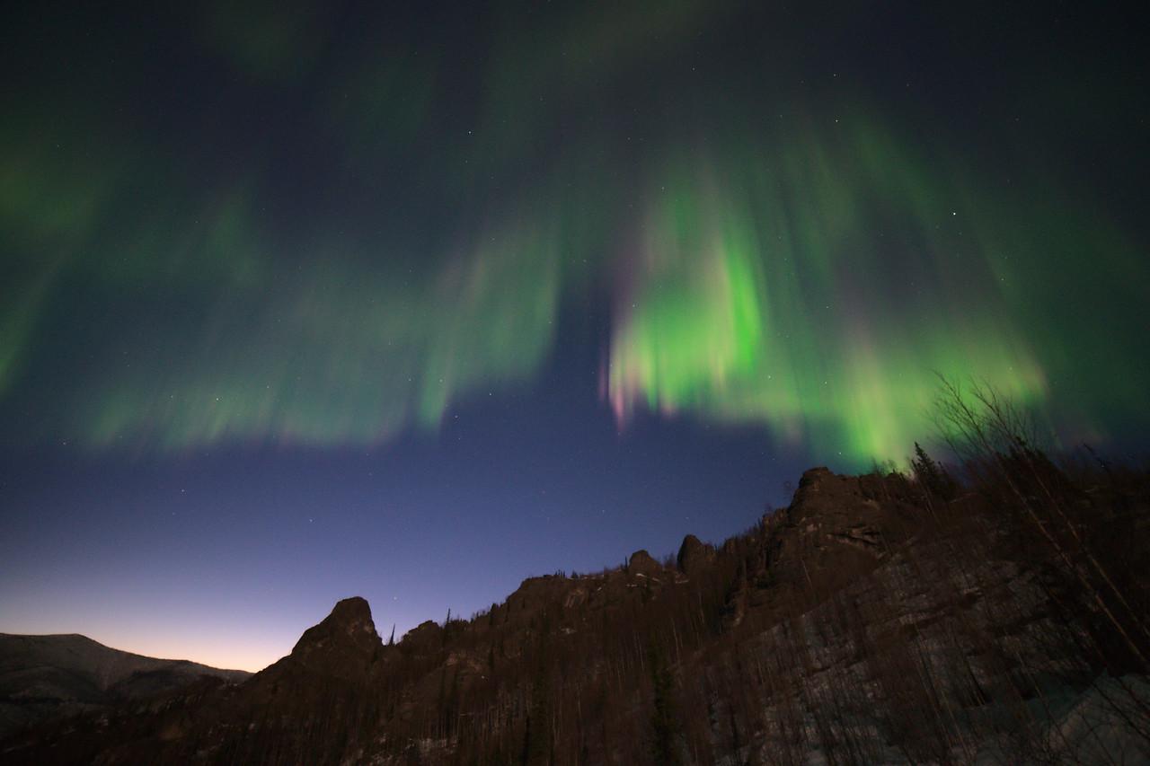 The aurora borealis over angel rocks