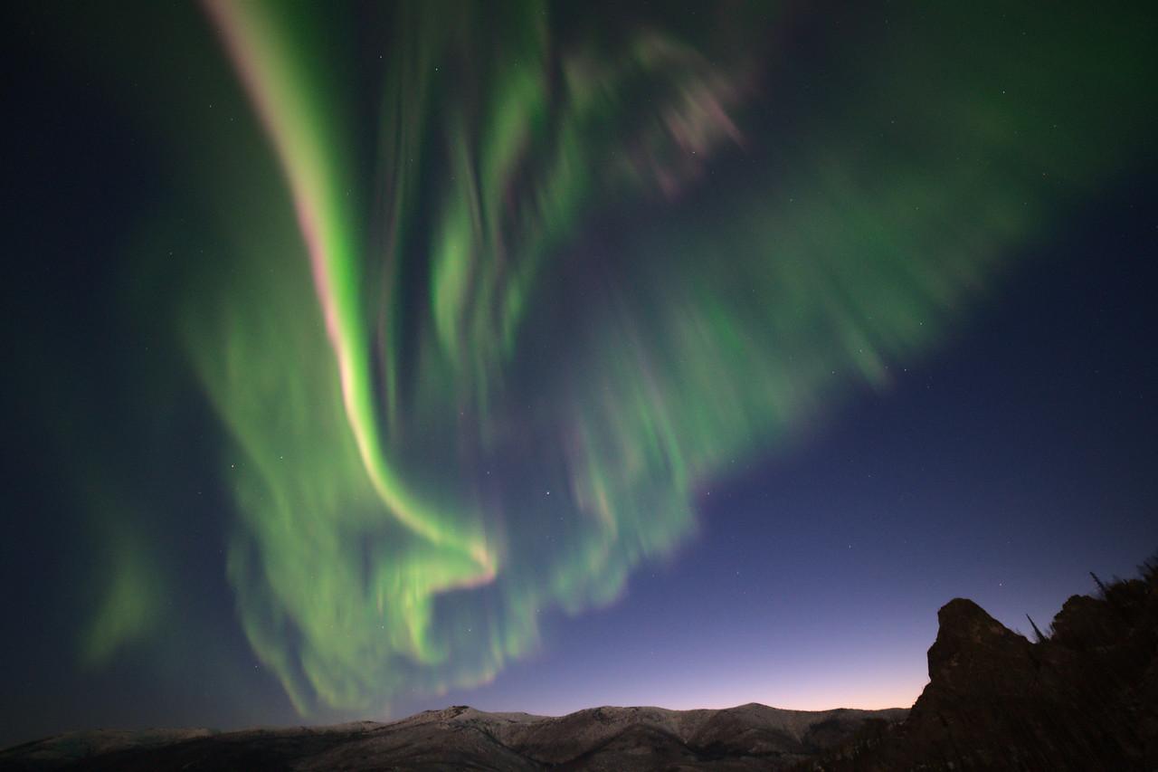Aurora borealis over Angel Rocks, Alaska. The April photo in my 2022 wall calendar.