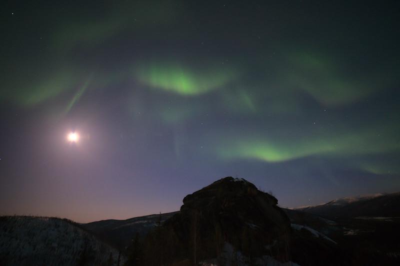 Aurora in the moonlight