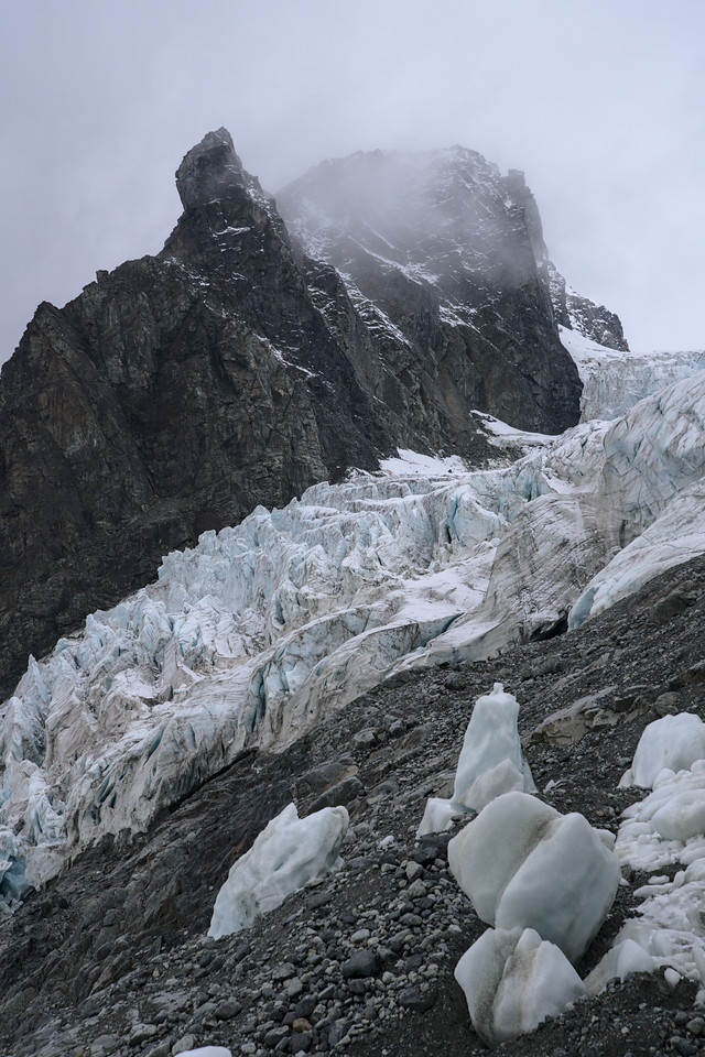 Fog in the mountains over the Gabriel Icefall