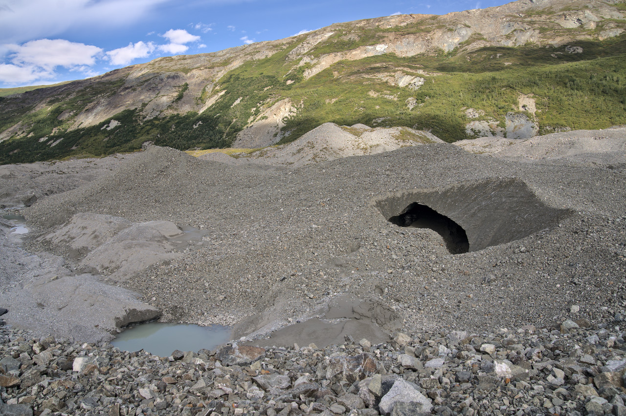 Looking over the moraine into one of the shorter tunnels lower down on the moraine