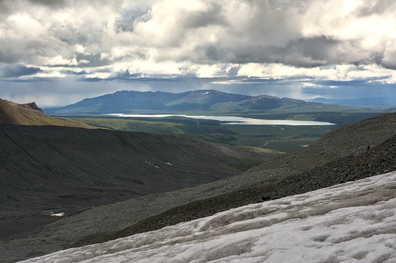 Summit lake viewed from the Gabriel Icefall