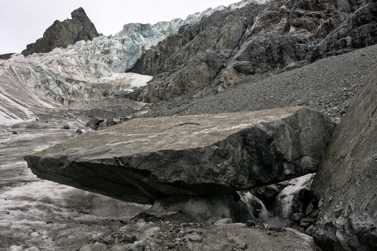 Looking over a rock at the Gabriel Icefall