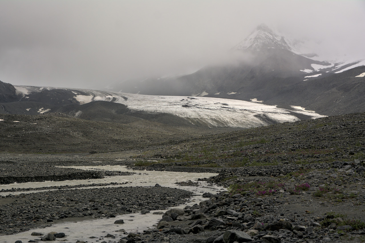 Approaching the toe of the Gulkana Glacier in the Alaska Range