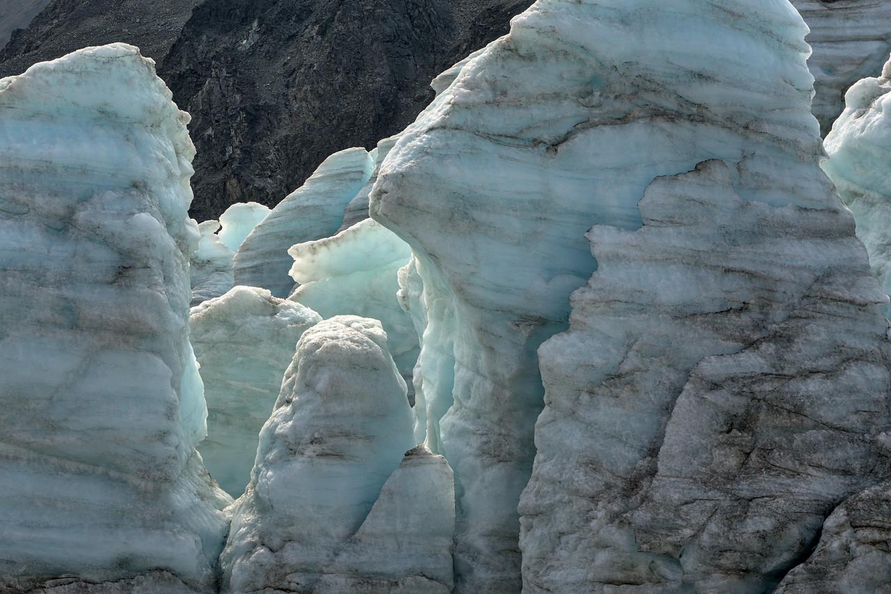 Blue glacier ice towers