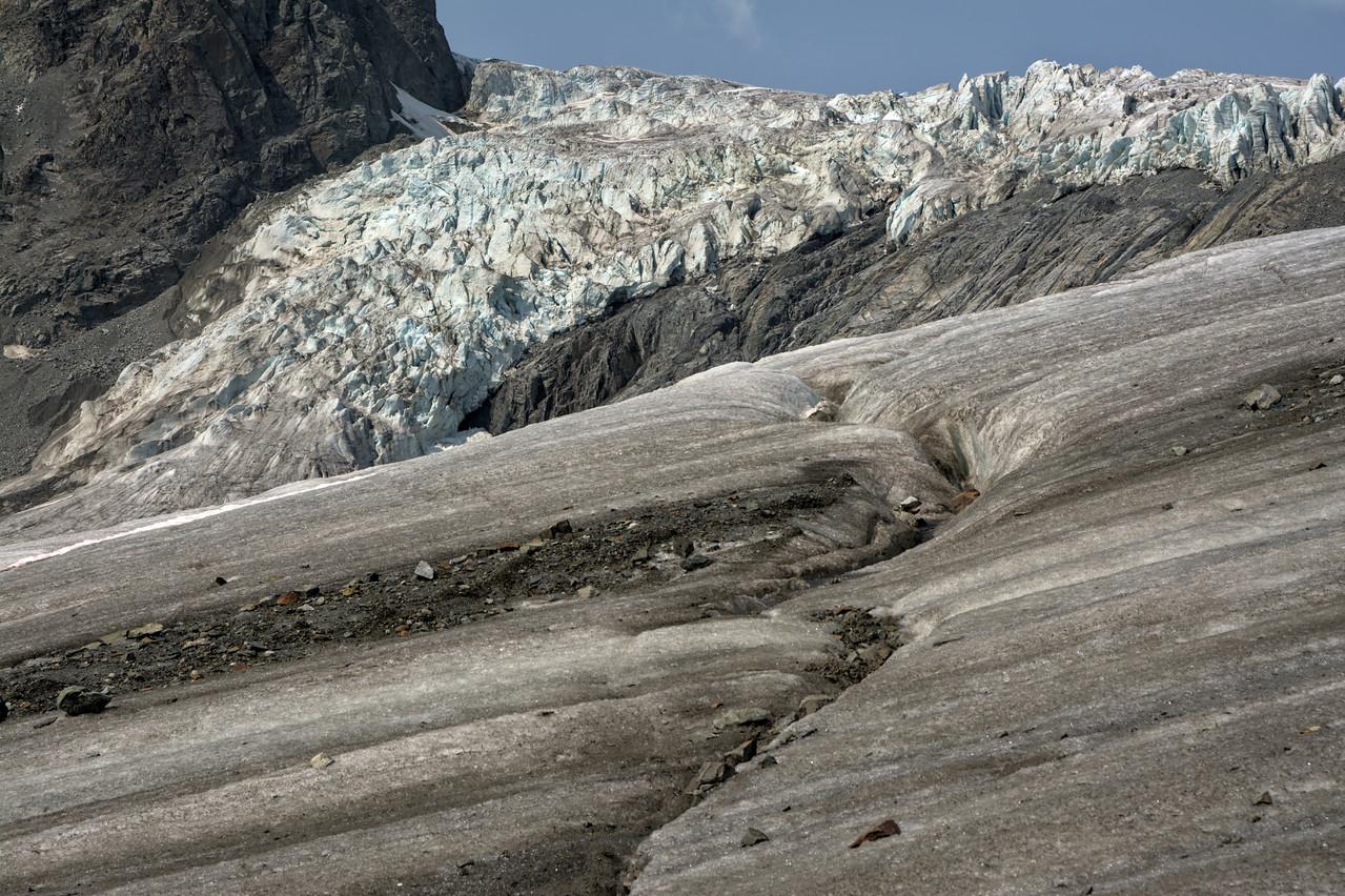 Looking over a glacier icefall on the Gulkana Glacier