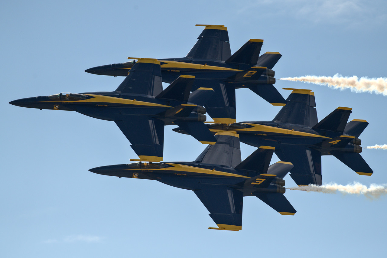 The Blue Angels flying in close formation