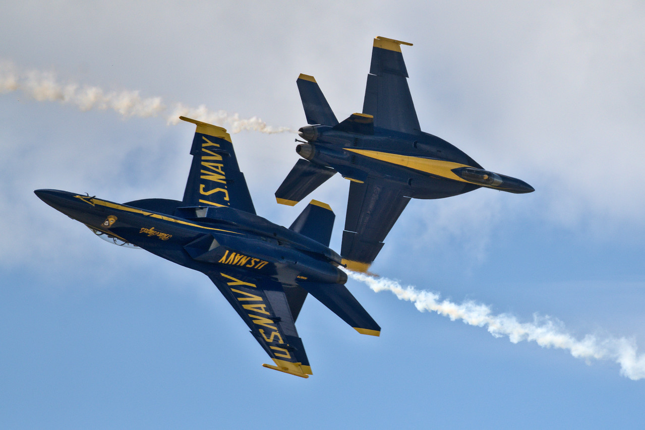 The Blue Angels in aerial manuevers