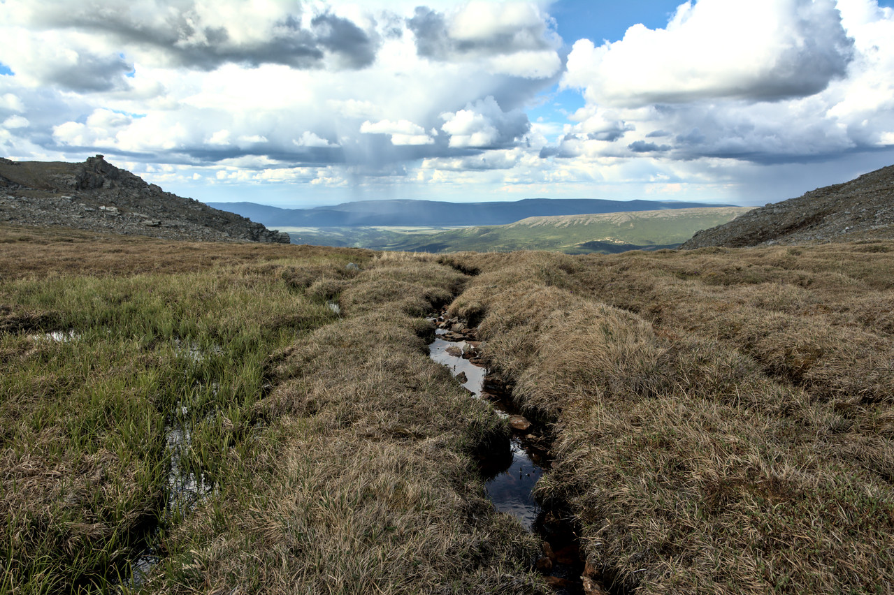 Boggy tundra and rain showers