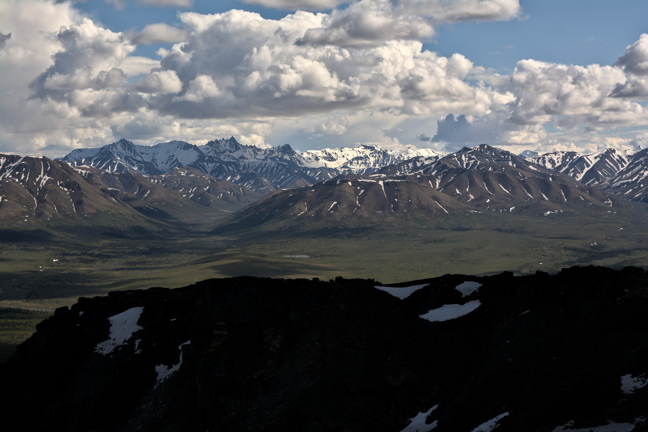 View of the Alaska Range over a ridge. The jagged peak right-center is Fang Mountain.