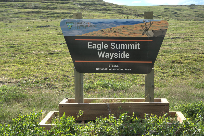 Sign for the Eagle Summit Wayside along the Steese HIghway