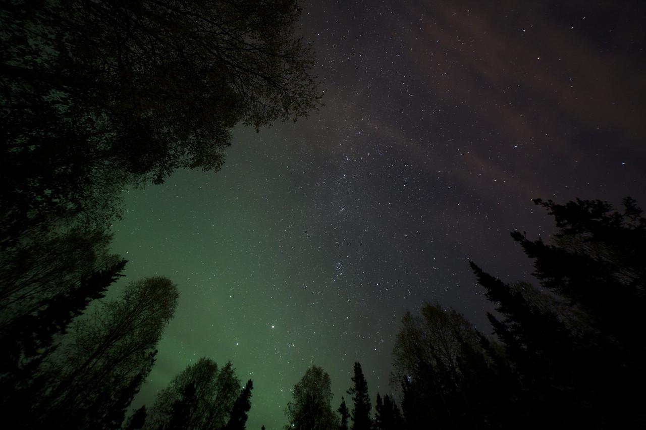 Faint aurora glow in the northern sky from Fairbanks, Alaska