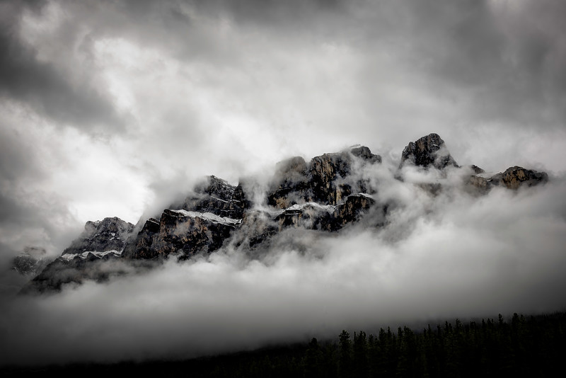 Castle Mountain in the clouds