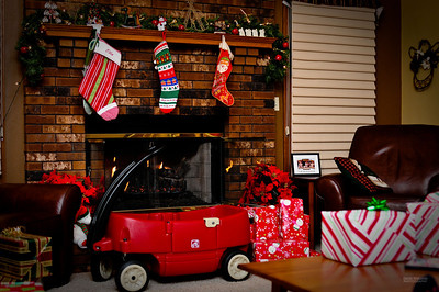 The stockings all hung by the chimney with care.