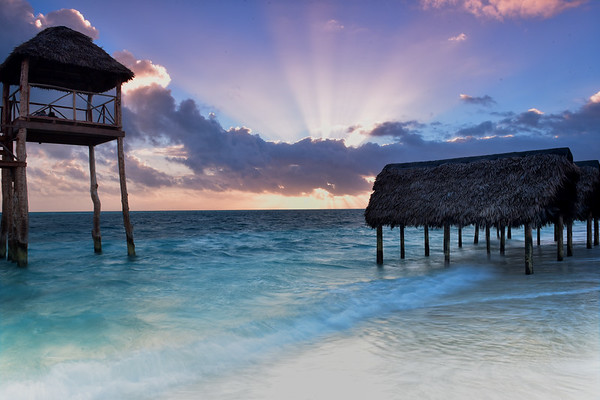 Sunrise on the huts in Cayo Coco Cuba